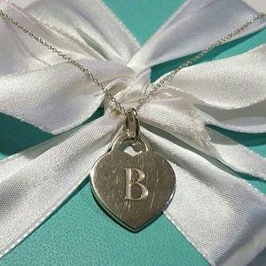 """Tiffany & Co. Heart Tag """"B"""" Necklace"""